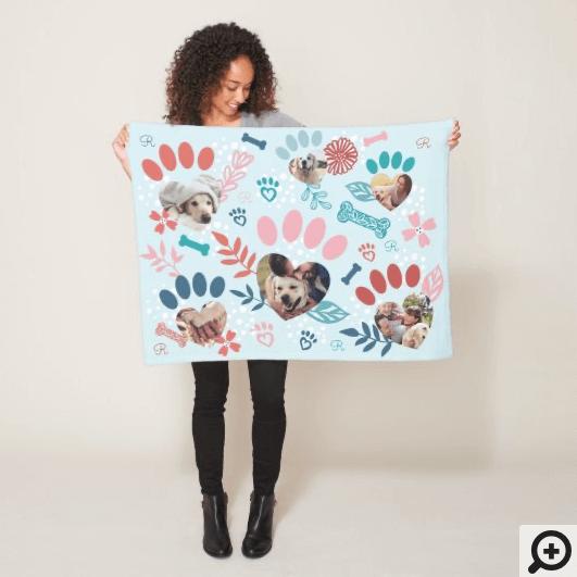 Blue Floral & Foliage Pet Paw Print Photo Collage Fleece Blanket
