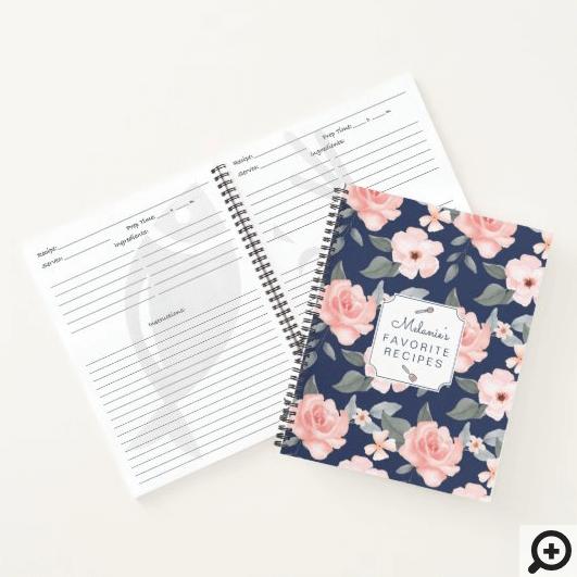 Blush Pink Rose Florals & Sage Leaf Foliage Recipe Notebook