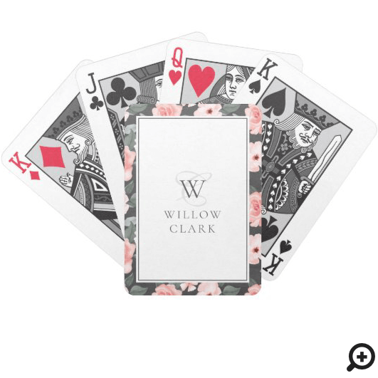 Blush Pink Watercolor Floral Rose & Sage Greenery Bicycle Playing Cards
