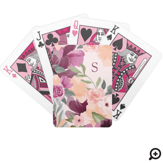 Blush & Purple Violet Watercolor Floral Monogram Bicycle Playing Cards