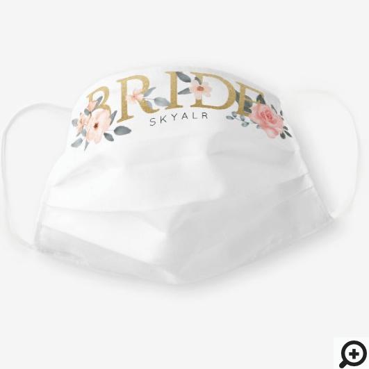 Bride Watercolour Floral Blush Rose White Cloth Face Mask