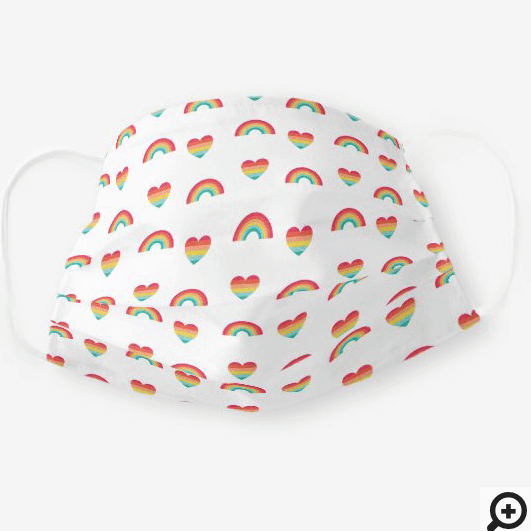Bright Colourful Rainbow & Hearts Pattern Cloth Face Mask