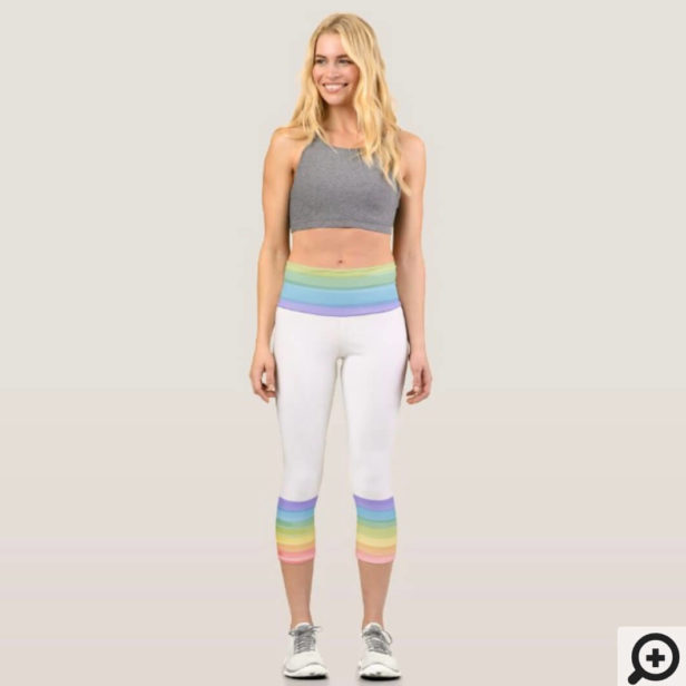 Bright Colourful Rainbow & Heats Capri Leggings