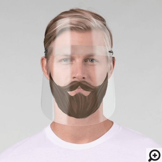 Brown Facial Hair With Full Beard & Moustache Face Shield