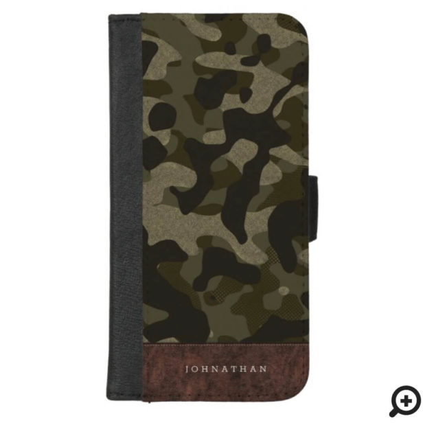 Brown Leather & Army Green Camouflage Pattern Name iPhone Wallet Case