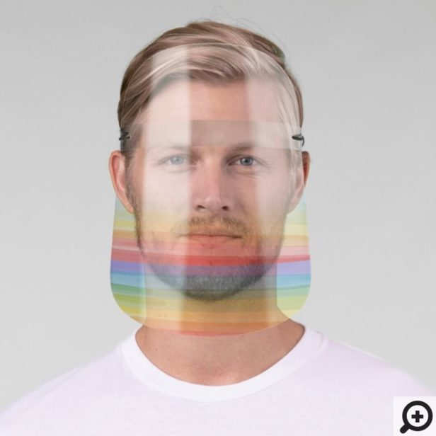 Colorful Bright Rainbow Stripes Tinted Ombre Pride Face Shield