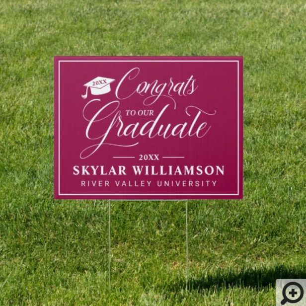 Congratulation To Graduate Calligraphy Burgundy Sign