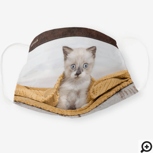 Custom Full Pet Photo With Brown Leather Trim Cloth Face Mask