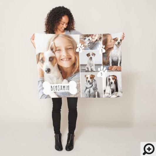 Custom Pet Dog Bone & Paw Print Photo Collage Fleece Blanket