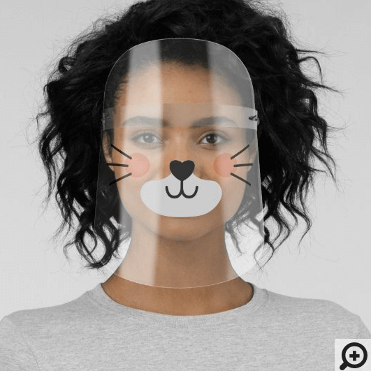 Cute Adorable Kitty Cat Face & Wiskers Face Shield
