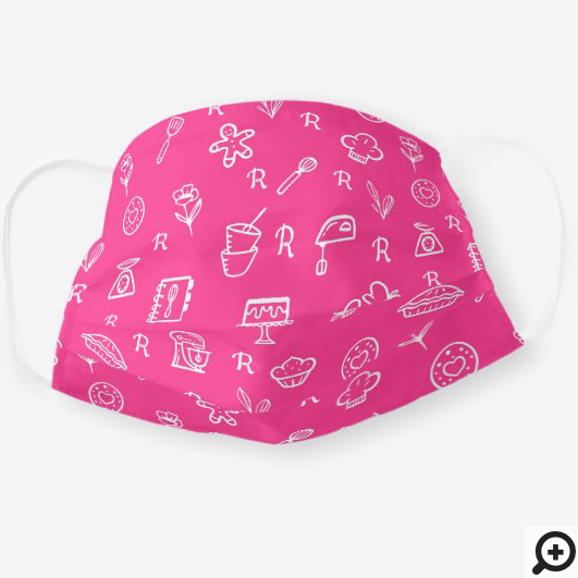 Cute Adorable Pink Baking Icon Pattern & Monogram Cloth Face Mask