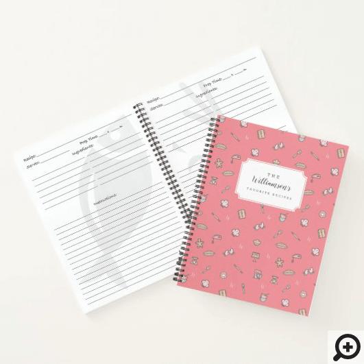 Cute Adorable Pink Baking Icon Pattern Recipe Monogram Notebook