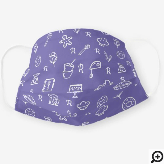 Cute Adorable Violet Baking Icon Pattern Monogram Cloth Face Mask