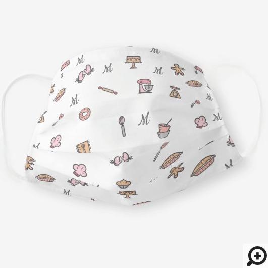 Cute Adorable White Baking Icon Pattern & Monogram Cloth Face Mask