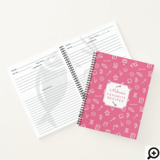 Cute Pink Baking Icon Pattern Favourite Recipe Notebook
