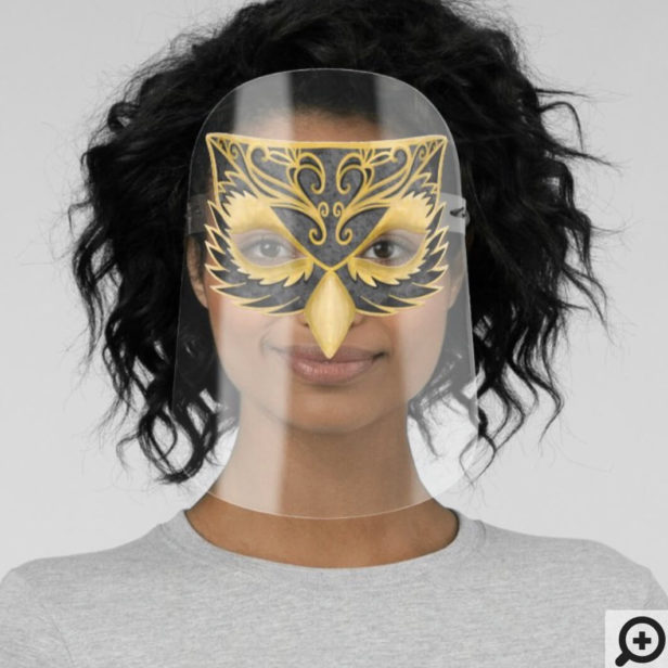 Elegant Black & Gold Decorative Owl Face Face Shield
