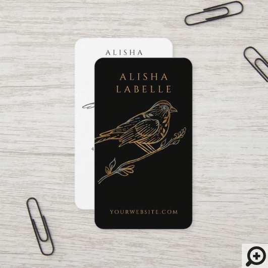 Elegant Ornate Decorative Peached Bird Logo Black Business Card