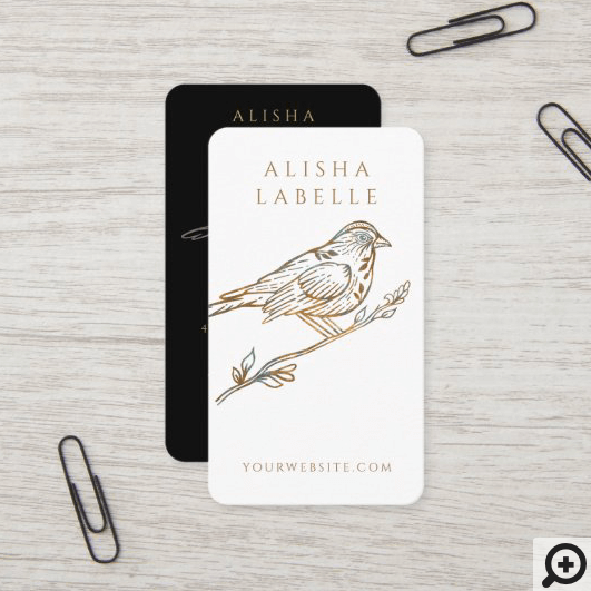 Elegant Ornate Decorative Peached Bird Logo White Business Card