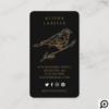 Elegant Ornate Decorative Peached Bird Logo Black Business Card