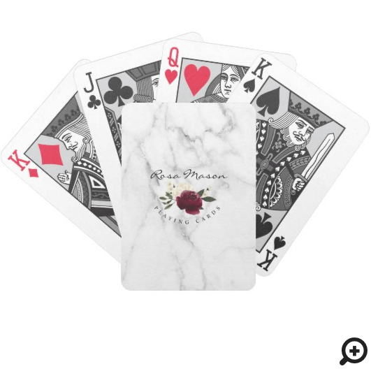 Elegant Red & Cream Watercolor Floral Marble Bicycle Playing Cards