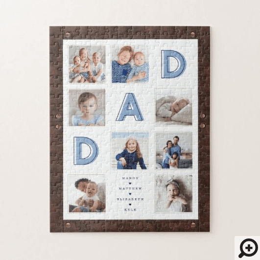 Faux Brown Leather Frame Dad Photo Collage Jigsaw Puzzle