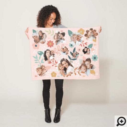Floral Garden Flower Family Photo Frame Collage Fleece Blanket