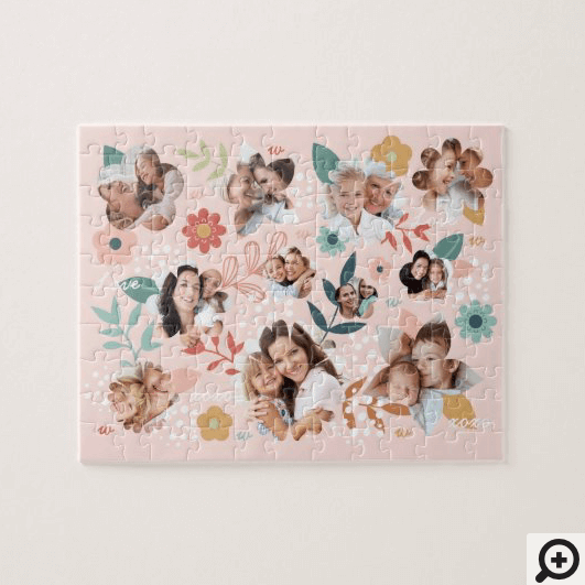 Floral Garden Flower Family Photo Frame Collage Jigsaw Puzzle