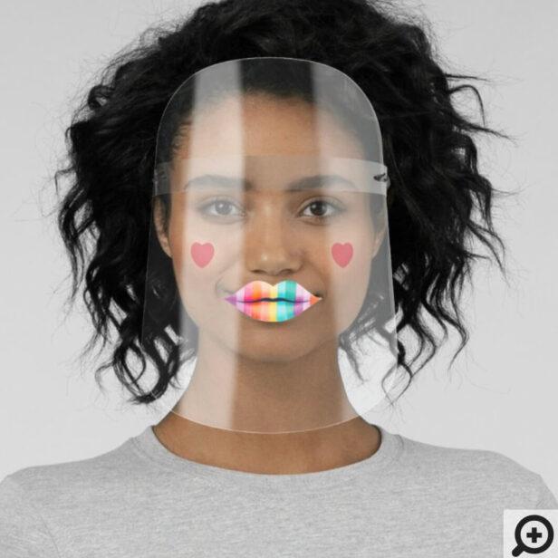 Fun & Cute Gay Pride Rainbow Stripe Lips & Hearts Face Shield