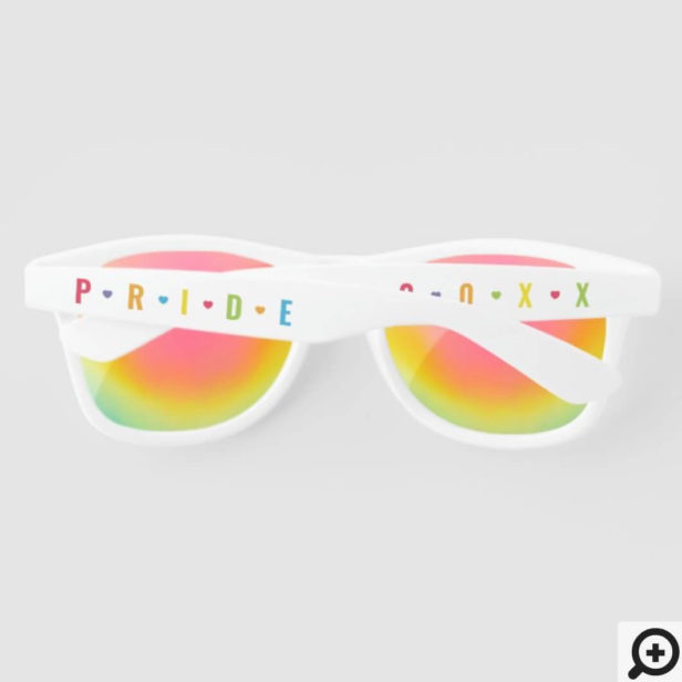 Fun Rainbow Pride Letters & Hearts Custom Year Sunglasses