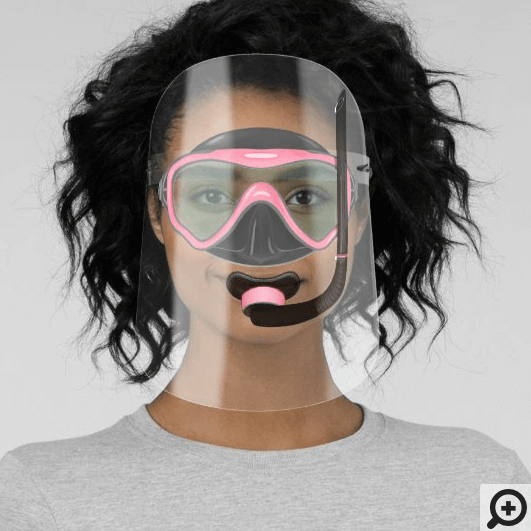 Fun Under The Ocean Pink Scuba Snorkelling Goggle Face Shield