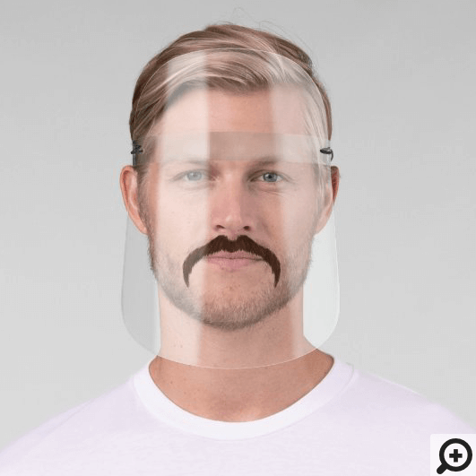 Funny Brown Trimmed Horseshoe Style Moustache Face Shield