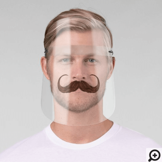 Funny Gentlemen Brown Handlebar Curved Moustache Face Shield