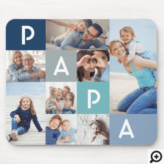 Gift For Papa | Papa Modern Multiple Photo Grid Mouse Pad