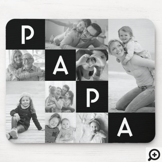 Gift For Papa | Papa Multiple Photo Grid Black Mouse Pad