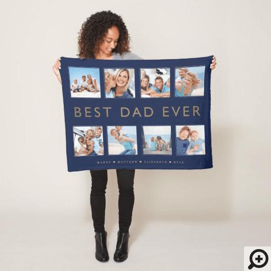 Gift for Dad | Best Dad Ever Photo Collage Navy Fleece Blanket