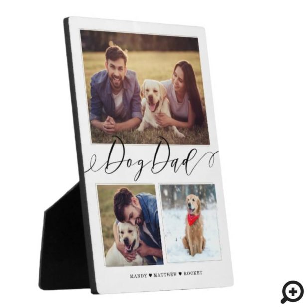 Gift for Dog Dad | Family Memories 3 Photo Collage Plaque