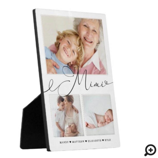 Gift for Mimi | Grandchildren 3 Photo Collage Plaque