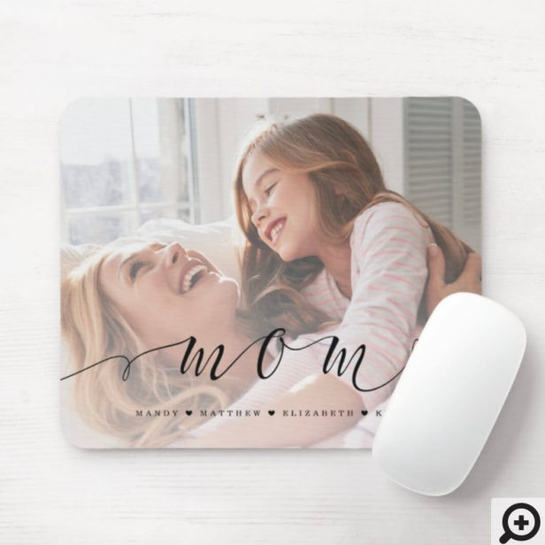 Gift for Mom | Mom Black Script Overlay Photo Mouse Pad