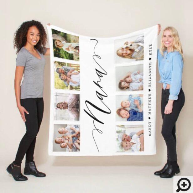 Gift for Nana | Grandchildren Photo Collage Fleece Blanket