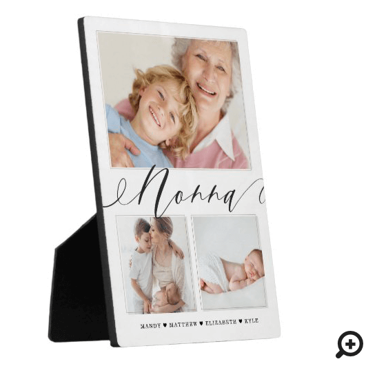 Gift for Nonna | Grandchildren 3 Photo Collage Plaque