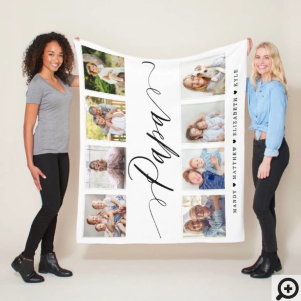 Gift for Papa | Grandchildren Photo Collage Fleece Blanket