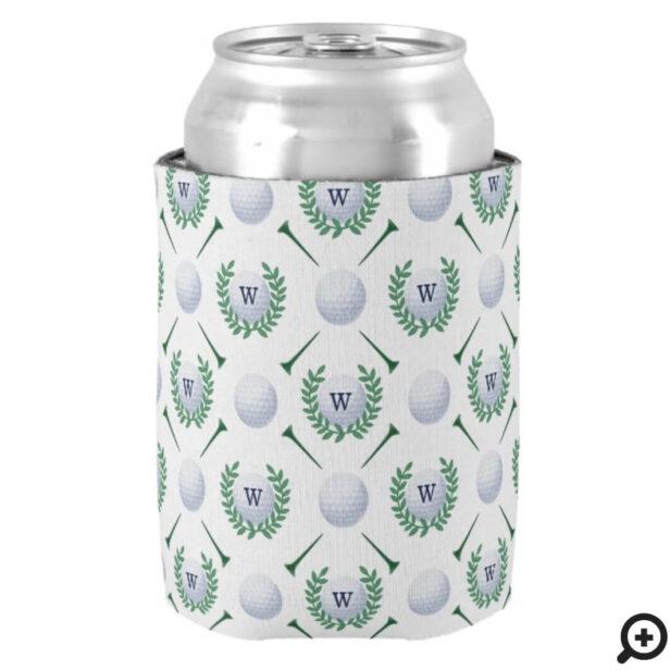 Golf Ball, Tee, Laurel Wreath Pattern & Monogram Can Cooler