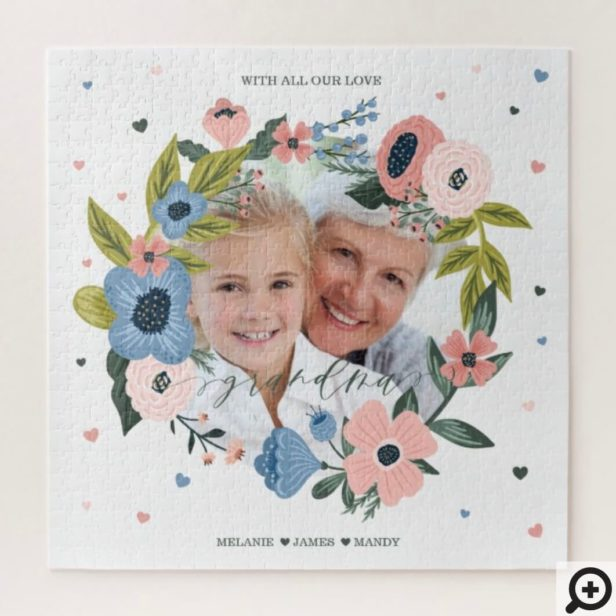 Grandma Script Typographic Floral Wreath & Photo Jigsaw Puzzle