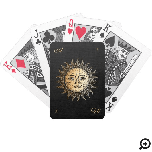 Hand Drawn Beautiful Celestial Sun Face Star Bicycle Playing Cards