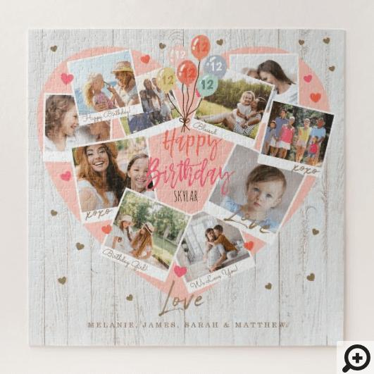 Happy Birthday Celebration Photo Scrapbook Heart Jigsaw Puzzle
