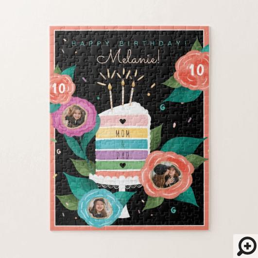 Happy Birthday Floral Rainbow Cake Slice & Photo Jigsaw Puzzle