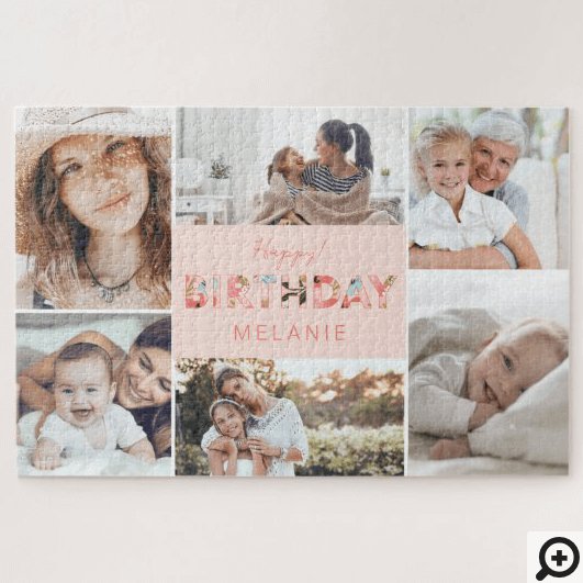 Happy Birthday Photo Collage & Floral Pattern Jigsaw Puzzle
