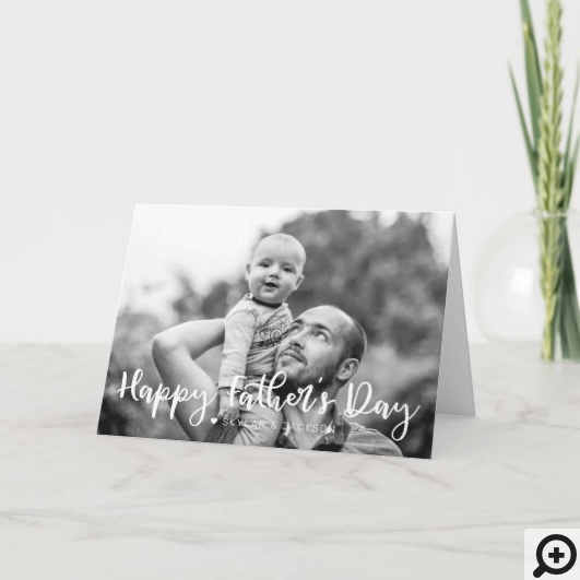 Happy Father's Day Brush Script Full Photo Card