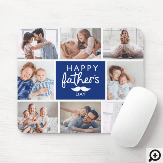 Happy Father's Day | Custom Photo Family Collage Mouse Pad