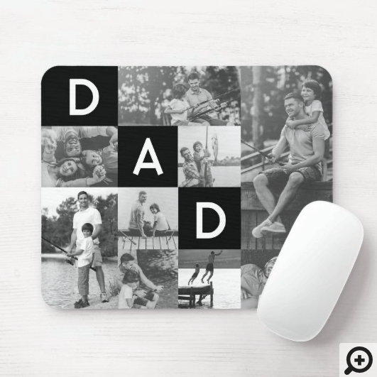 Happy Fathers Day Dad Black & White Photo Grid Mouse Pad